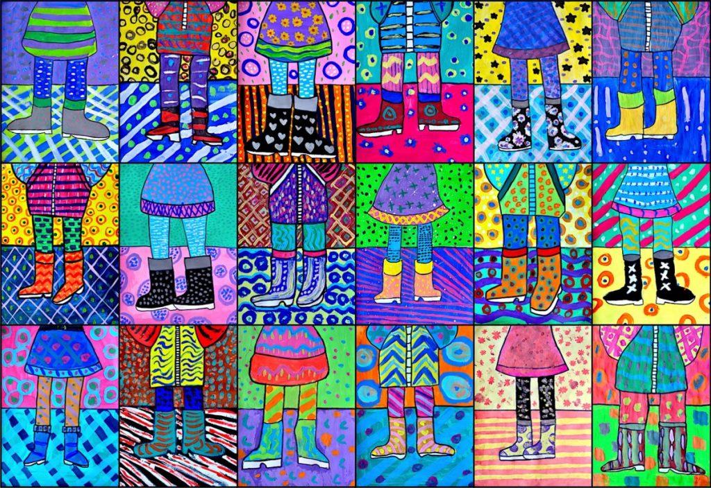Funny boots: tempera & texture