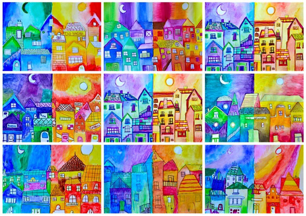 piccolo borgo a colori caldi e freddi - italia4all - scuola