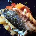 Filetto di ombrina su verdure spadellate