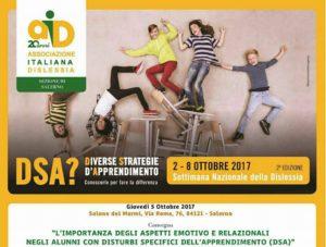 Convegno AID: associazione Italiana Dislessia – Salerno- Salone dei Marmi dal 2 al 7 ottobre 2017