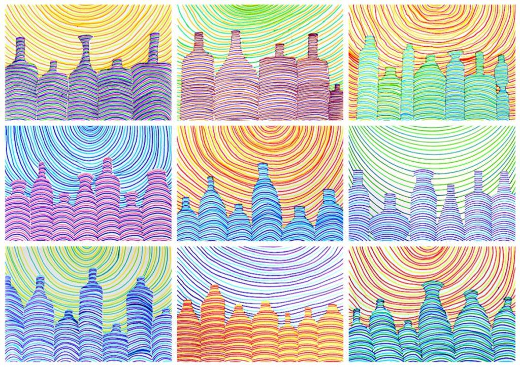 Bottiglie fatte di linee