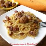 Spaghetti al farro con castagne e pancetta